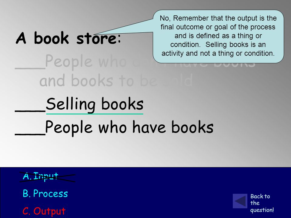 A book store: ___People who don't have books and books to be sold ___Selling books ___People who have books A.Input B.Process C.Output No, Remember that the output is the final outcome or goal of the process and is defined as a thing or condition.