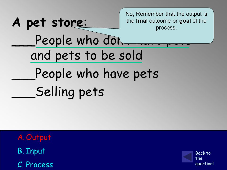 A pet store: ___People who don't have pets and pets to be sold ___People who have pets ___Selling pets A.Output B.Input C.Process No, Remember that the output is the final outcome or goal of the process.