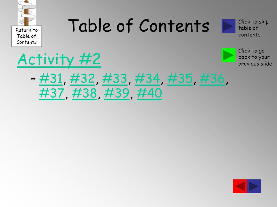 Table of Contents Activity #2 –#31, #32, #33, #34, #35, #36, #37, #38, #39, #40#31#32#33#34#35#36 #37#38#39#40 Return to Table of Contents Click to skip table of contents Click to go back to your previous slide