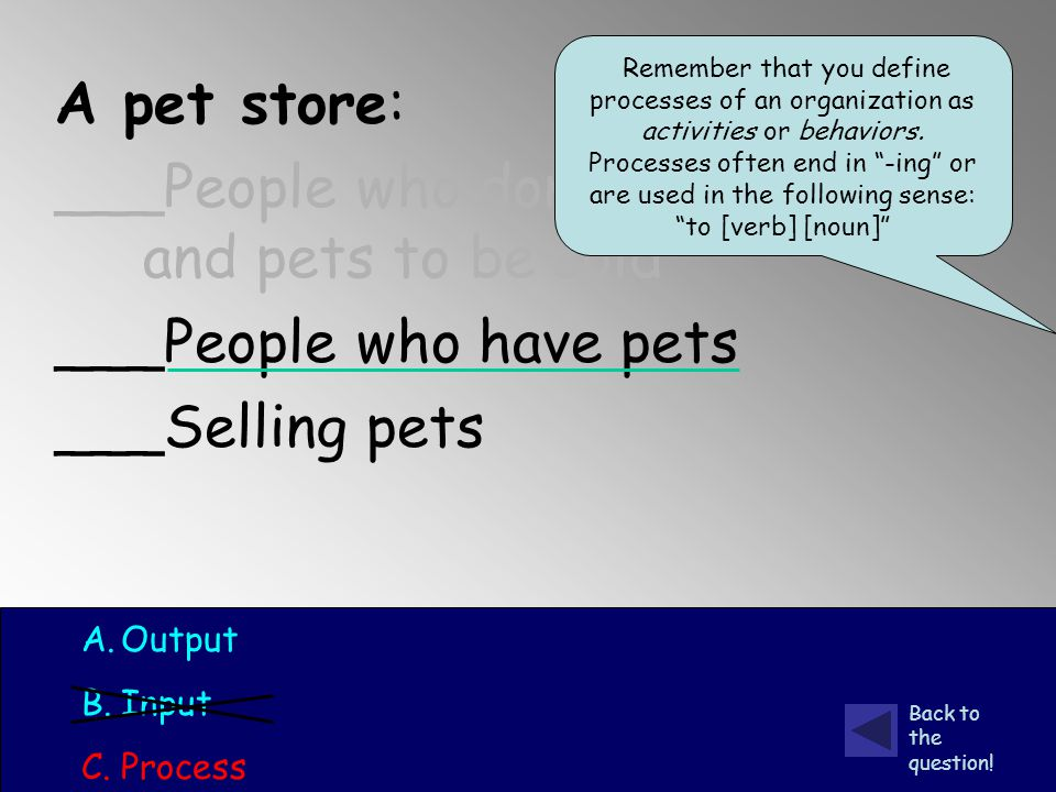 A pet store: ___People who don't have pets and pets to be sold ___People who have pets ___Selling pets A.Output B.Input C.Process Back to the question.