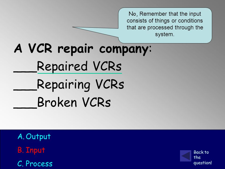 A VCR repair company: ___Repaired VCRs ___Repairing VCRs ___Broken VCRs A.Output B.Input C.Process No, Remember that the input consists of things or conditions that are processed through the system.