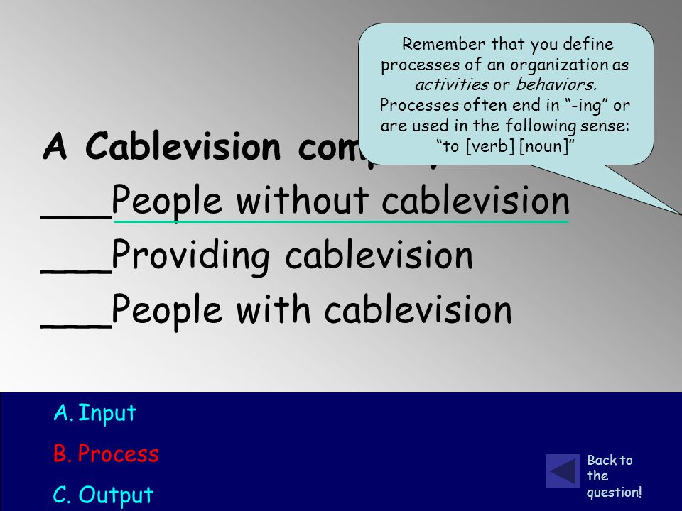 A Cablevision company: ___People without cablevision ___Providing cablevision ___People with cablevision A.Input B.Process C.Output Back to the question.