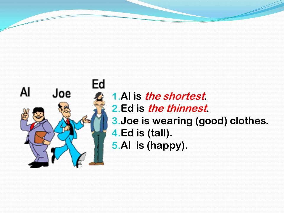 1. Al is the shortest. 2. Ed is the thinnest. 3. Joe is wearing (good) clothes. 4. Ed is (tall). 5. Al is (happy).