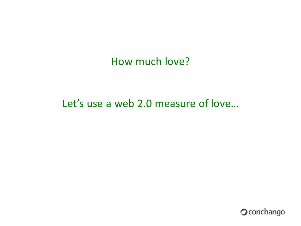 How much love Let's use a web 2.0 measure of love…