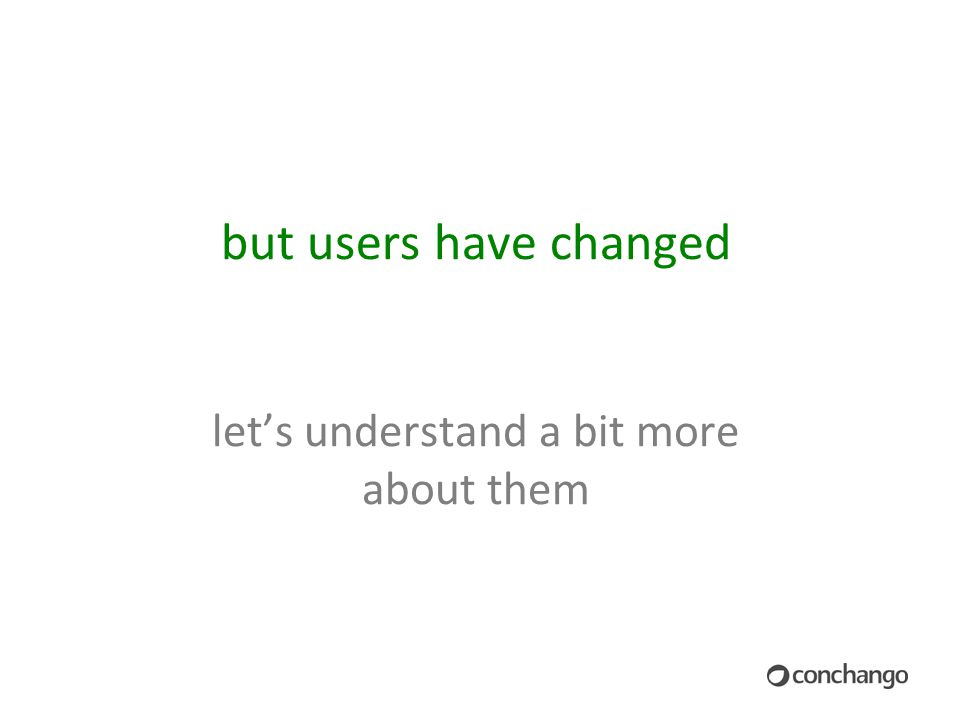 but users have changed let's understand a bit more about them