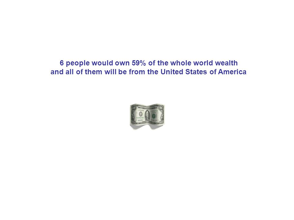 6 people would own 59% of the whole world wealth and all of them will be from the United States of America