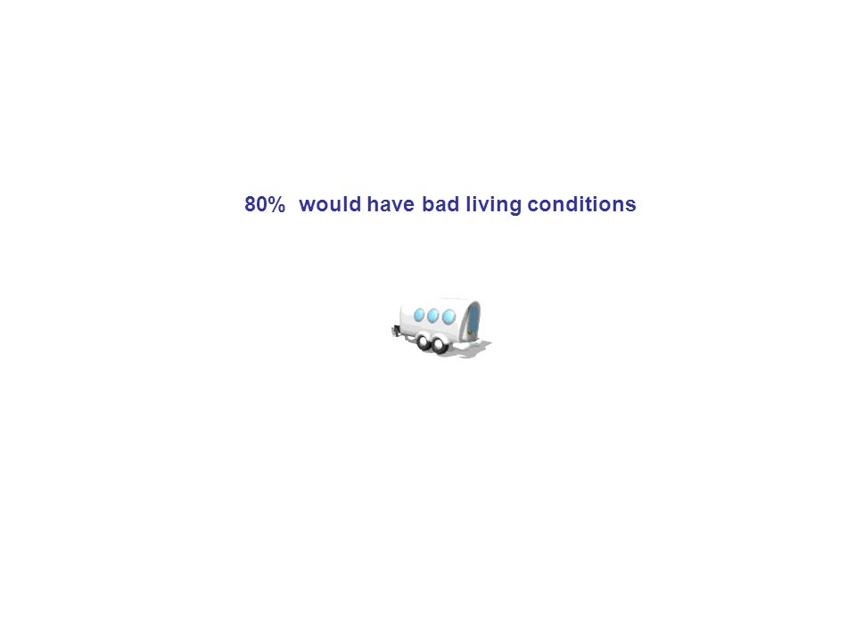 80% would have bad living conditions