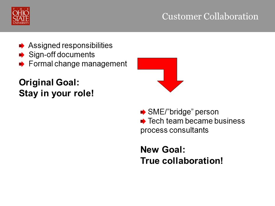 "Customer Collaboration Assigned responsibilities Sign-off documents Formal change management Original Goal: Stay in your role! SME/""bridge"" person Tec"
