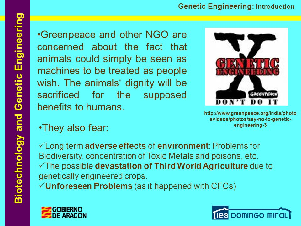 Biotechnology and Genetic Engineering Genetic Engineering: Introduction Greenpeace and other NGO are concerned about the fact that animals could simpl