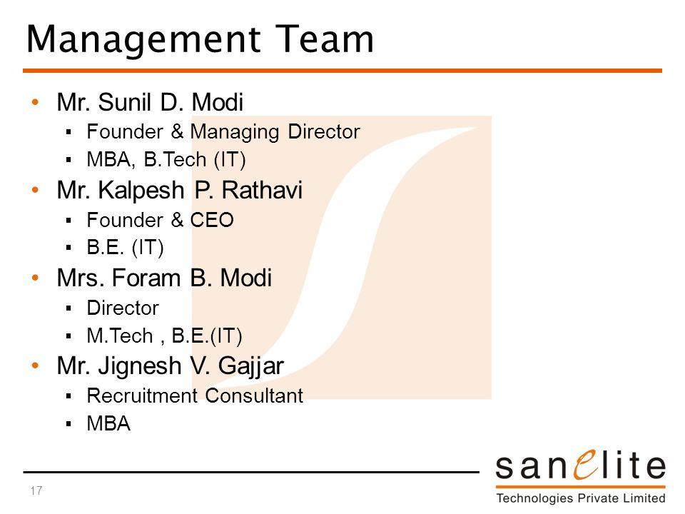 Management Team Mr. Sunil D. Modi ▪Founder & Managing Director ▪MBA, B.Tech (IT) Mr.