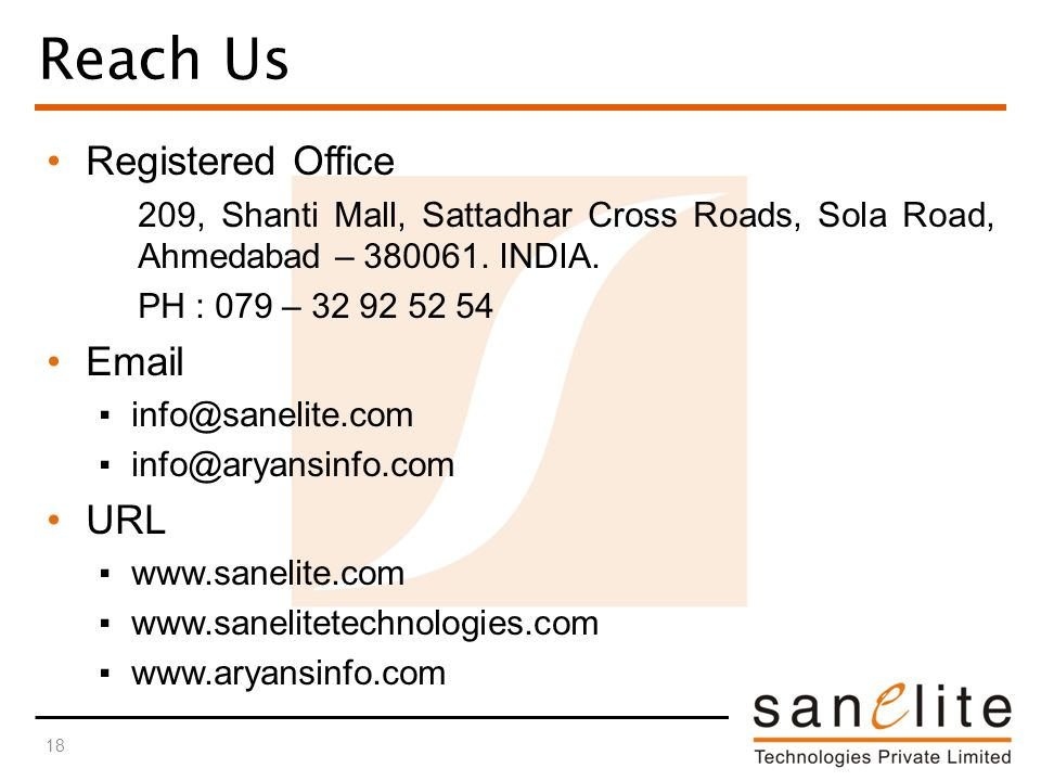 Reach Us Registered Office 209, Shanti Mall, Sattadhar Cross Roads, Sola Road, Ahmedabad – 380061.