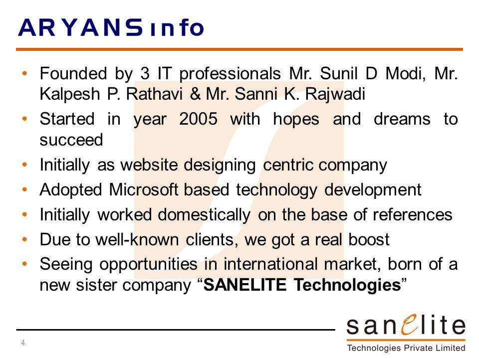 Founded by 3 IT professionals Mr. Sunil D Modi, Mr.