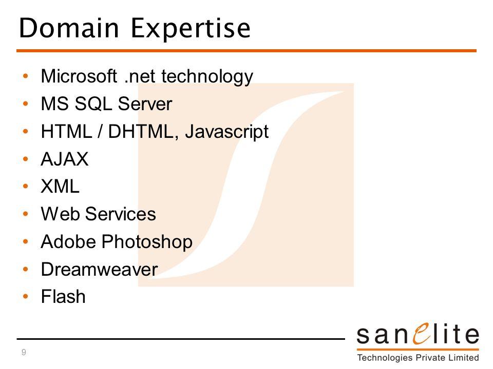 Domain Expertise Microsoft.net technology MS SQL Server HTML / DHTML, Javascript AJAX XML Web Services Adobe Photoshop Dreamweaver Flash 9