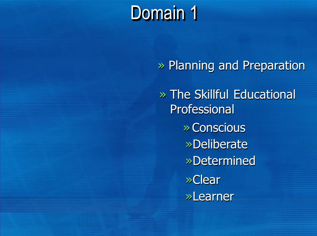 Domain 1 »Planning and Preparation »The Skillful Educational Professional »Conscious »Deliberate »Determined »Clear »Learner
