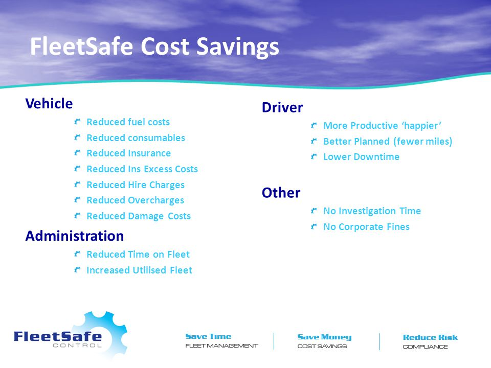 FleetSafe Cost Savings Vehicle Reduced fuel costs Reduced consumables Reduced Insurance Reduced Ins Excess Costs Reduced Hire Charges Reduced Overcharges Reduced Damage Costs Administration Reduced Time on Fleet Increased Utilised Fleet Driver More Productive 'happier' Better Planned (fewer miles) Lower Downtime Other No Investigation Time No Corporate Fines