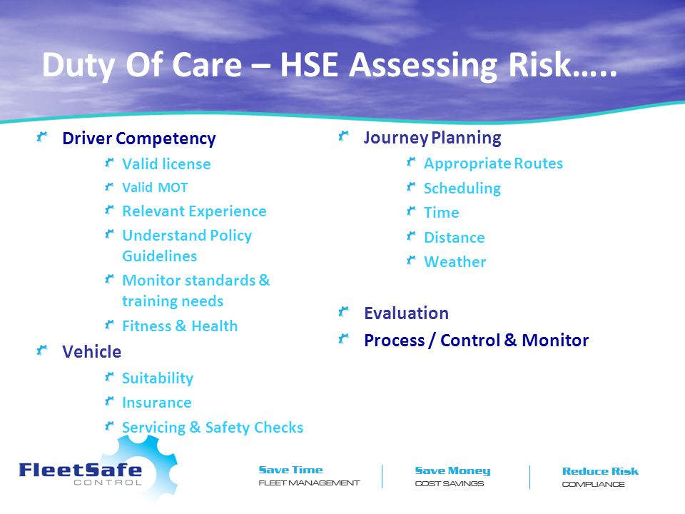 Duty Of Care – HSE Assessing Risk…..