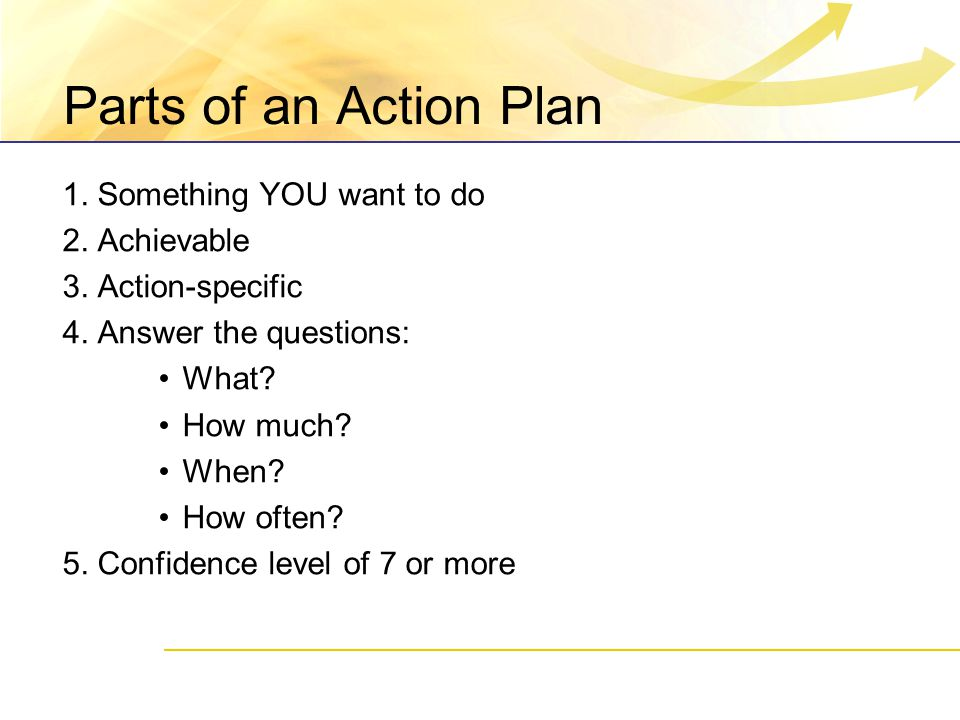 Parts of an Action Plan 1. Something YOU want to do 2.