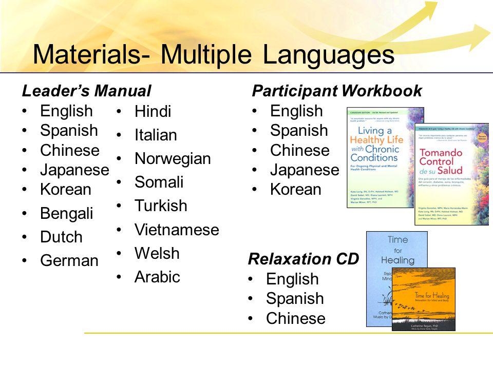 Materials- Multiple Languages Participant Workbook English Spanish Chinese Japanese Korean Relaxation CD English Spanish Chinese Leader's Manual Engli