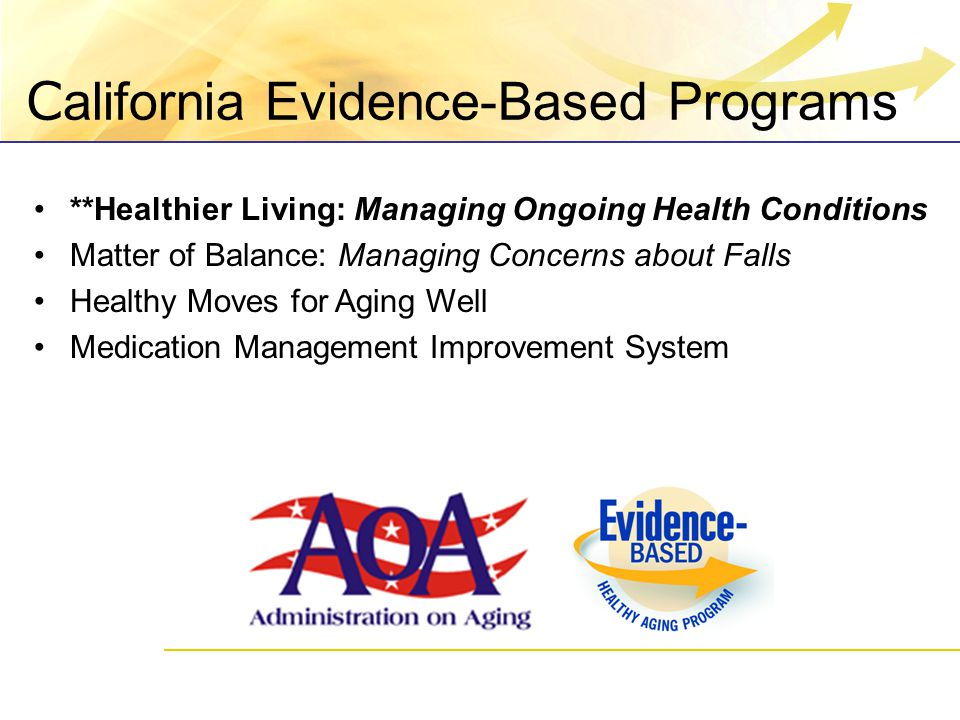 C alifornia Evidence-Based Programs **Healthier Living: Managing Ongoing Health Conditions Matter of Balance: Managing Concerns about Falls Healthy Moves for Aging Well Medication Management Improvement System