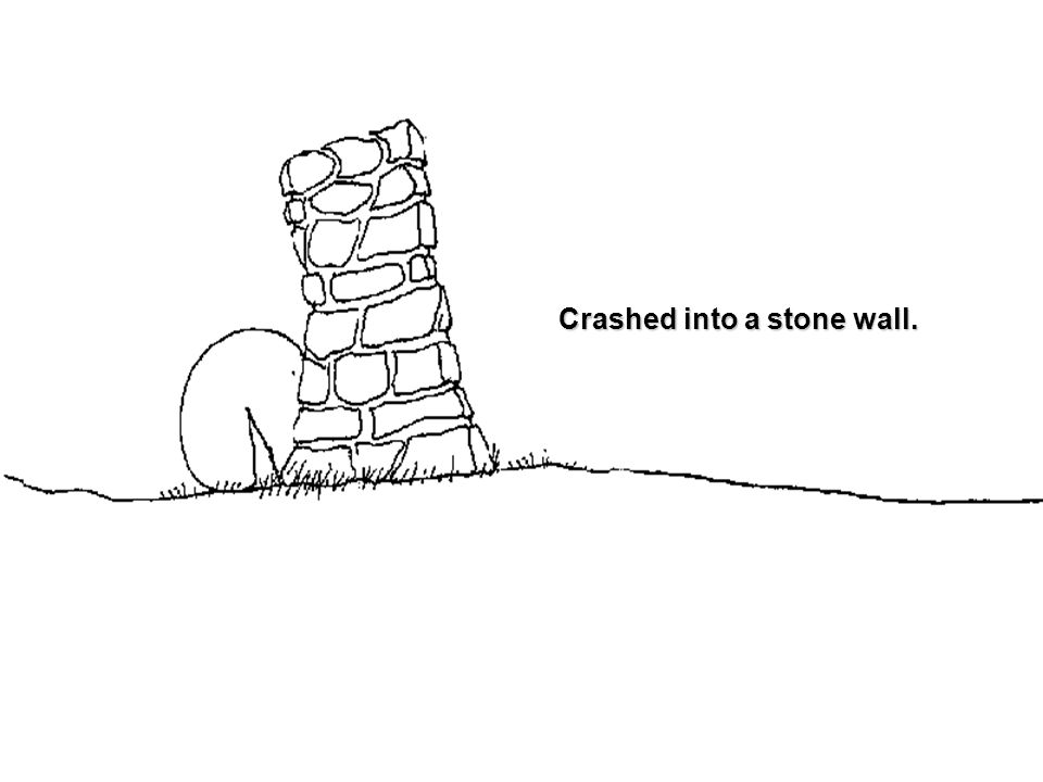 Crashed into a stone wall.