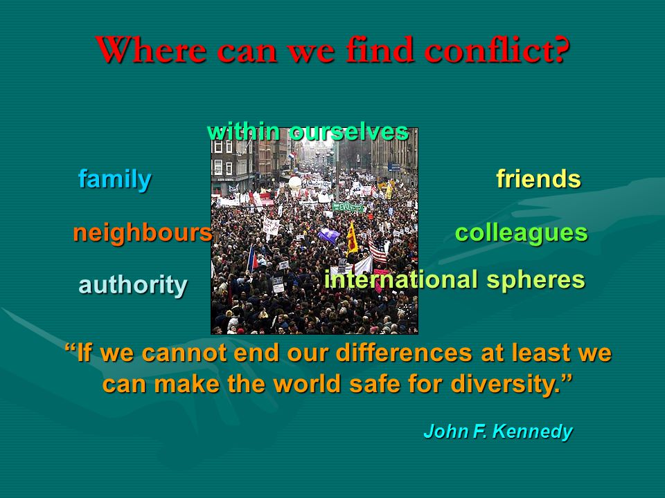 Where can we find conflict. friendsfamily John F.