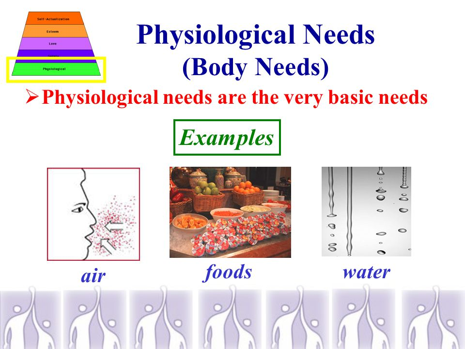 Physiological Needs (Body Needs)  Physiological needs are the very basic needs Examples air foodswater