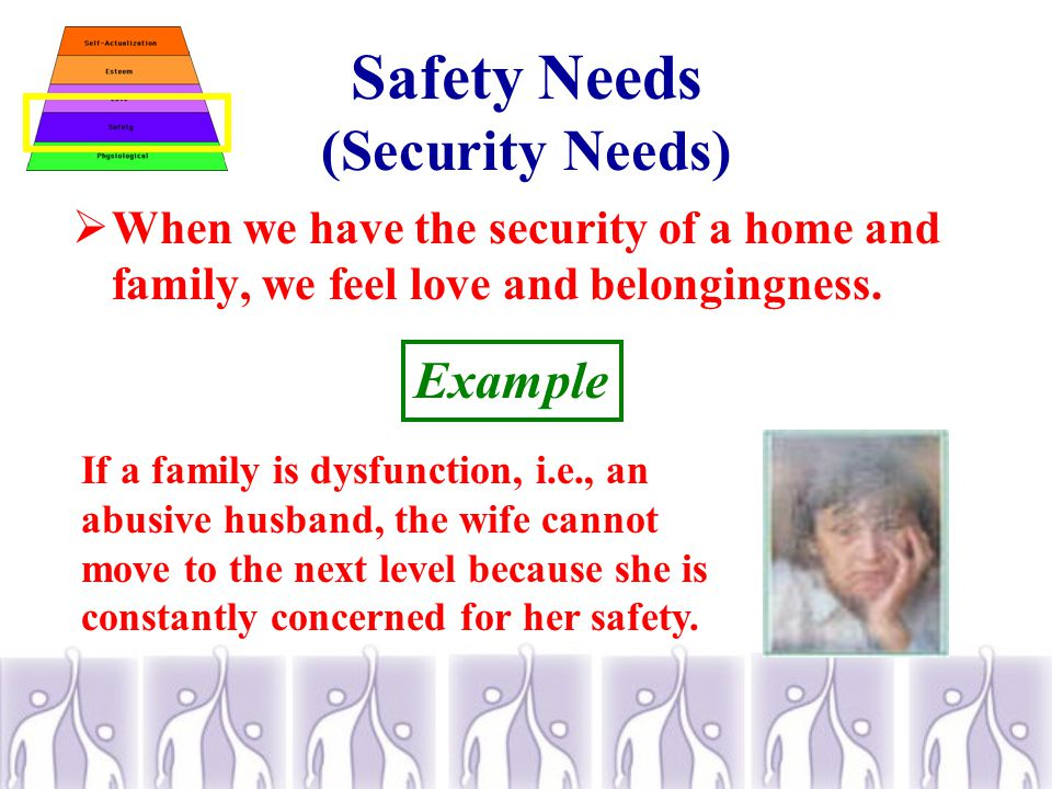 Safety Needs (Security Needs)  When we have the security of a home and family, we feel love and belongingness.