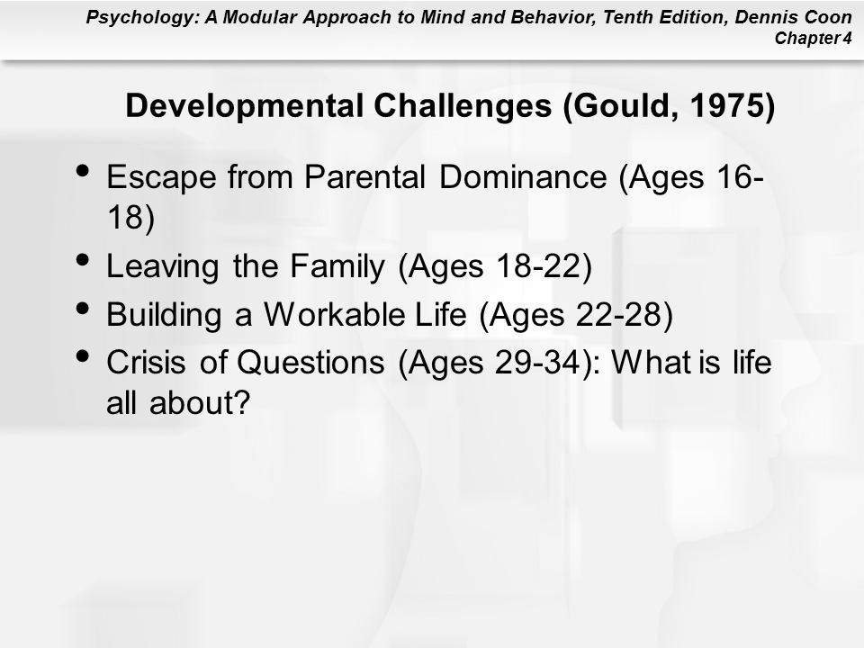 Psychology: A Modular Approach to Mind and Behavior, Tenth Edition, Dennis Coon Chapter 4 Developmental Challenges (Gould, 1975) Escape from Parental Dominance (Ages 16- 18) Leaving the Family (Ages 18-22) Building a Workable Life (Ages 22-28) Crisis of Questions (Ages 29-34): What is life all about