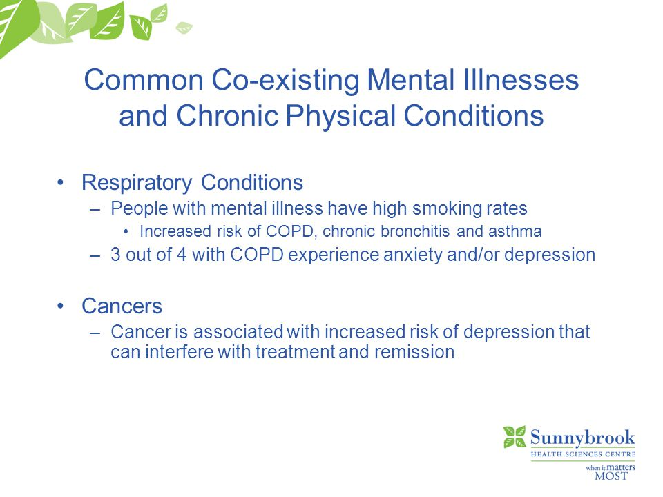 Common Co-existing Mental Illnesses and Chronic Physical Conditions Respiratory Conditions –People with mental illness have high smoking rates Increased risk of COPD, chronic bronchitis and asthma –3 out of 4 with COPD experience anxiety and/or depression Cancers –Cancer is associated with increased risk of depression that can interfere with treatment and remission