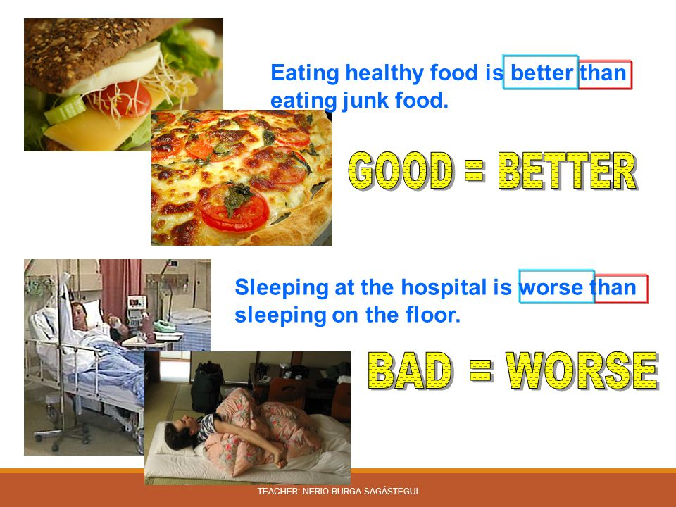 Sleeping at the hospital is worse than sleeping on the floor. Eating healthy food is better than eating junk food. TEACHER: NERIO BURGA SAGÁSTEGUI
