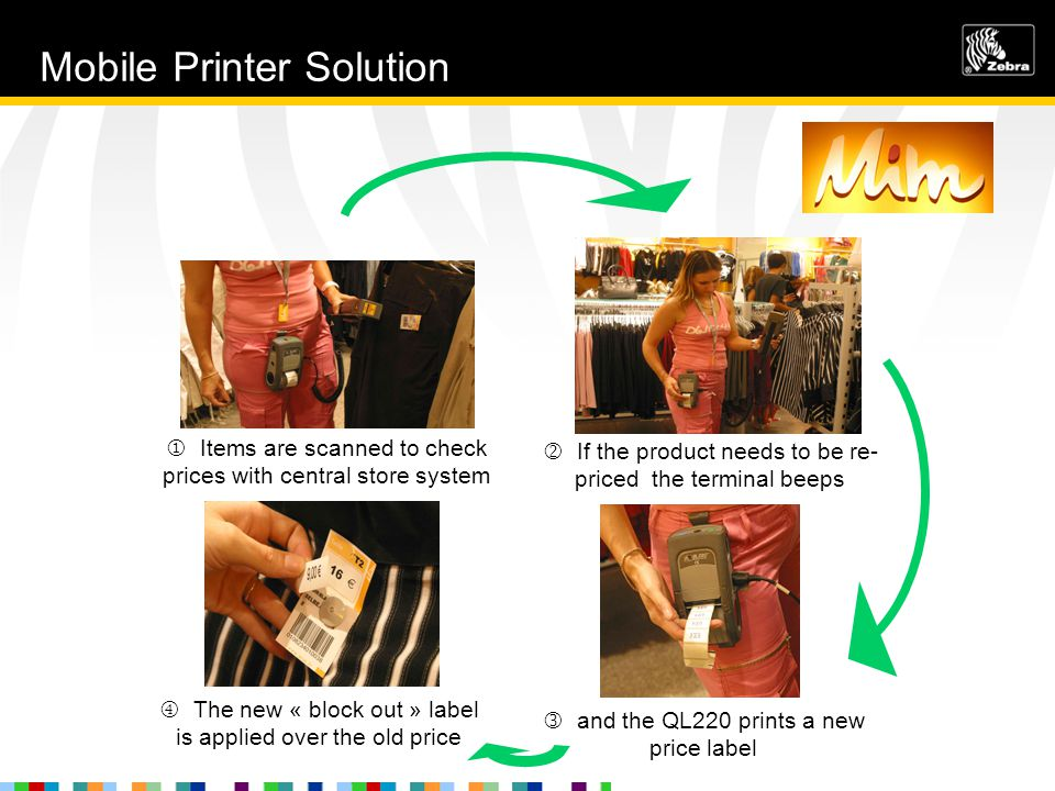  Items are scanned to check prices with central store system  The new « block out » label is applied over the old price and the QL220 prints a new price label  If the product needs to be re- priced the terminal beeps Mobile Printer Solution