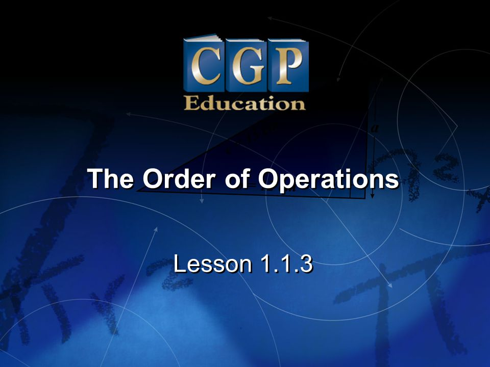 2 Lesson 1.1.3 The Order of Operations California Standard: Algebra and Functions 1.2 What it means for you: Key Words: Use the correct order of operations to evaluate algebraic expressions such as 3(2 x + 5) 2.
