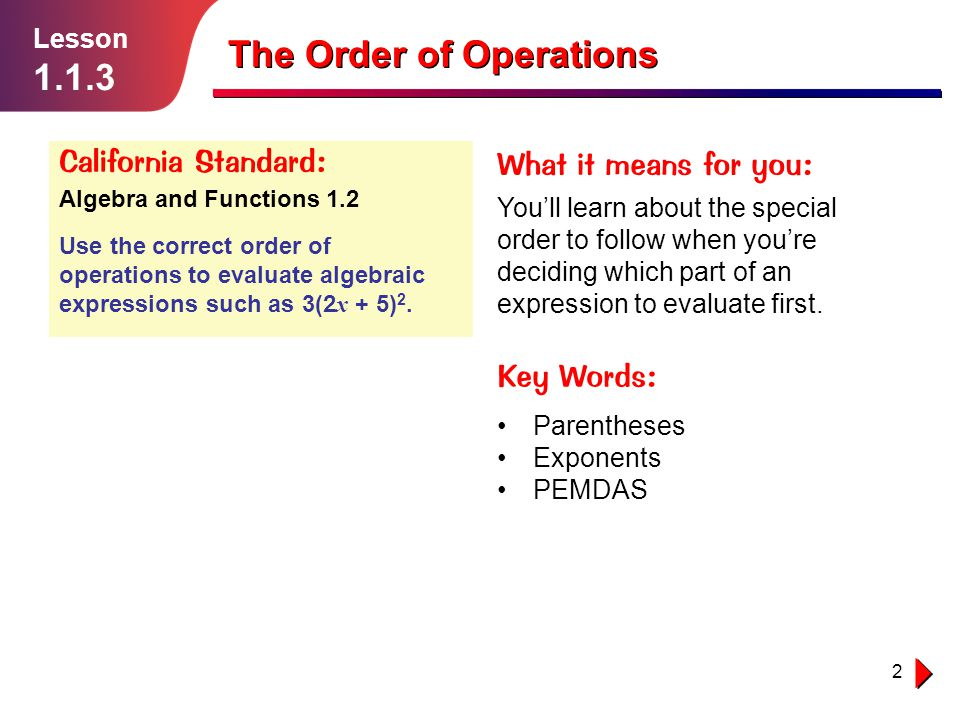 13 Example 3 Lesson 1.1.3 The Order of Operations Simplify the calculation k (5 + 4) + 16 as far as possible.