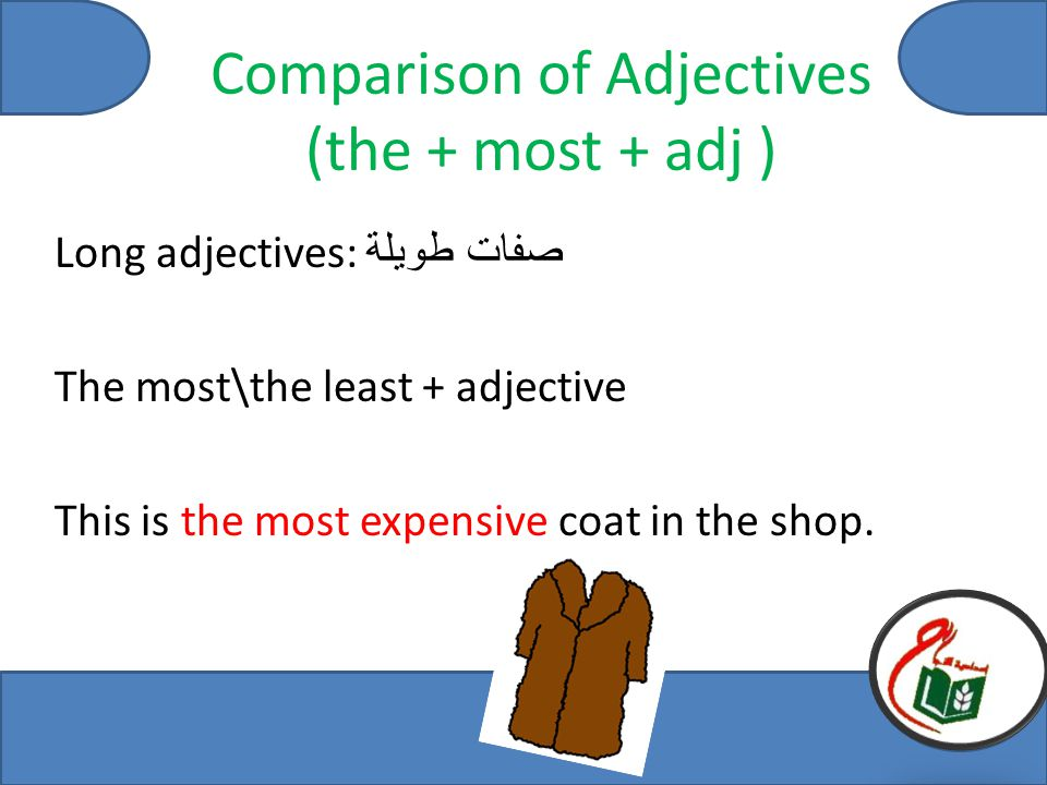 Comparison of Adjectives (the + most + adj ) Long adjectives: صفات طويلة The most\the least + adjective This is the most expensive coat in the shop.