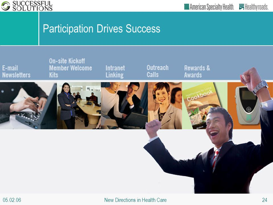 05.02.06 New Directions in Health Care 24 Participation Drives Success