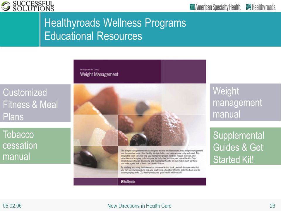 05.02.06 New Directions in Health Care 26 Healthyroads Wellness Programs Educational Resources Customized Fitness & Meal Plans Tobacco cessation manua