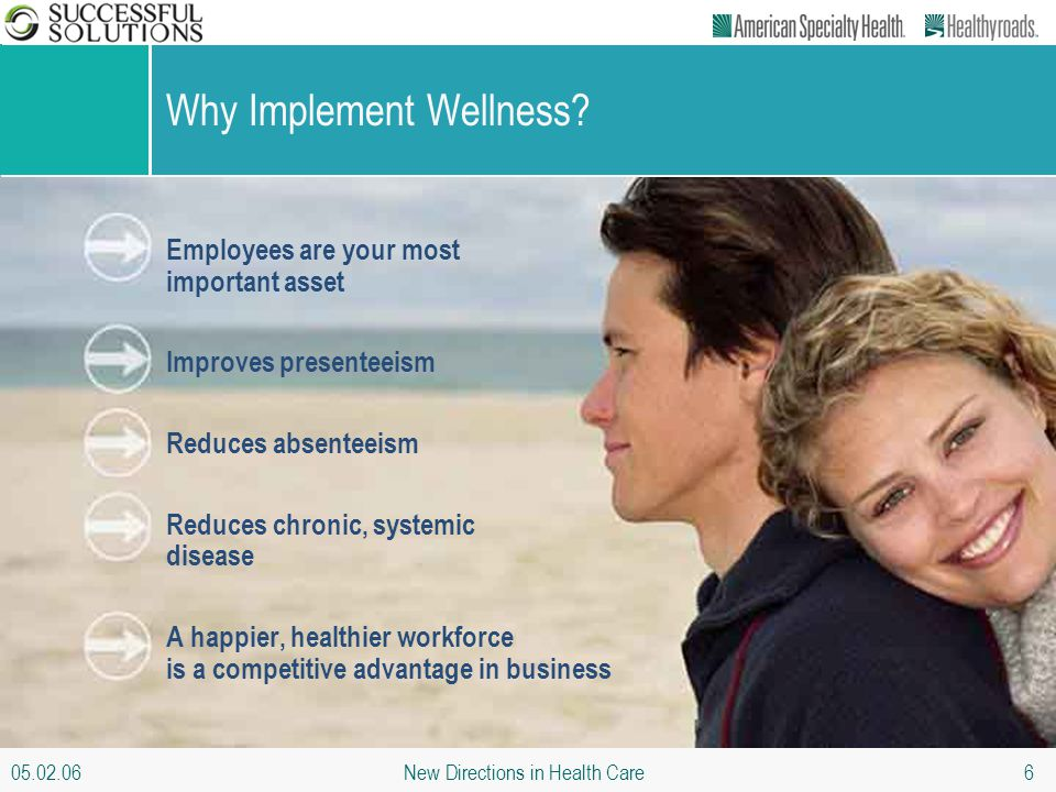 05.02.06 New Directions in Health Care 6 Why Implement Wellness? Employees are your most important asset Improves presenteeism Reduces absenteeism Red