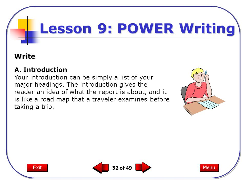 32 of 49 A. Introduction Your introduction can be simply a list of your major headings.