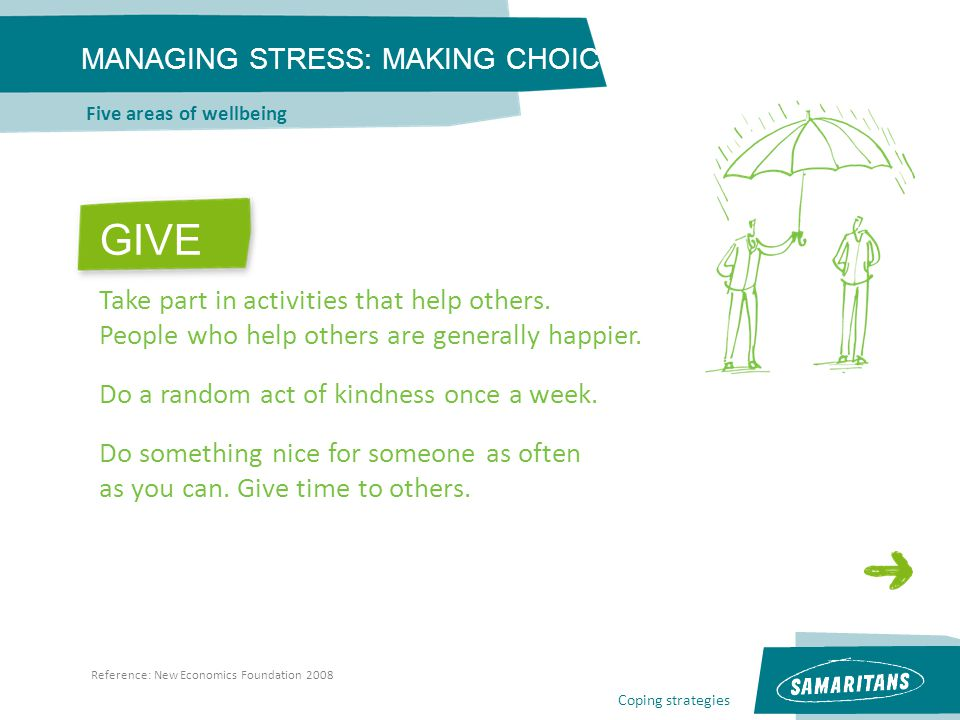Coping strategies MANAGING STRESS: MAKING CHOICES Five areas of wellbeing Reference: New Economics Foundation 2008 GIVE Take part in activities that h
