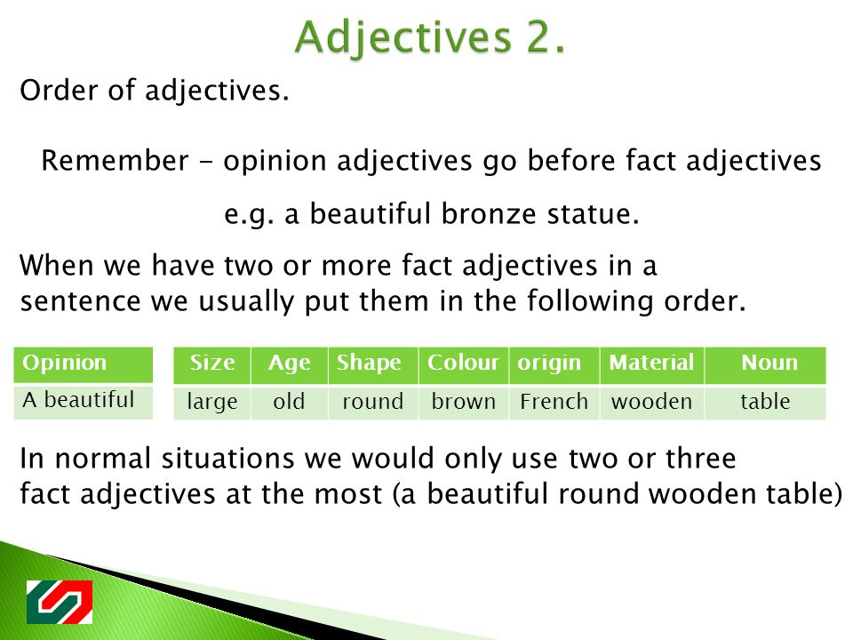 Order of adjectives. Remember - opinion adjectives go before fact adjectives e.g.
