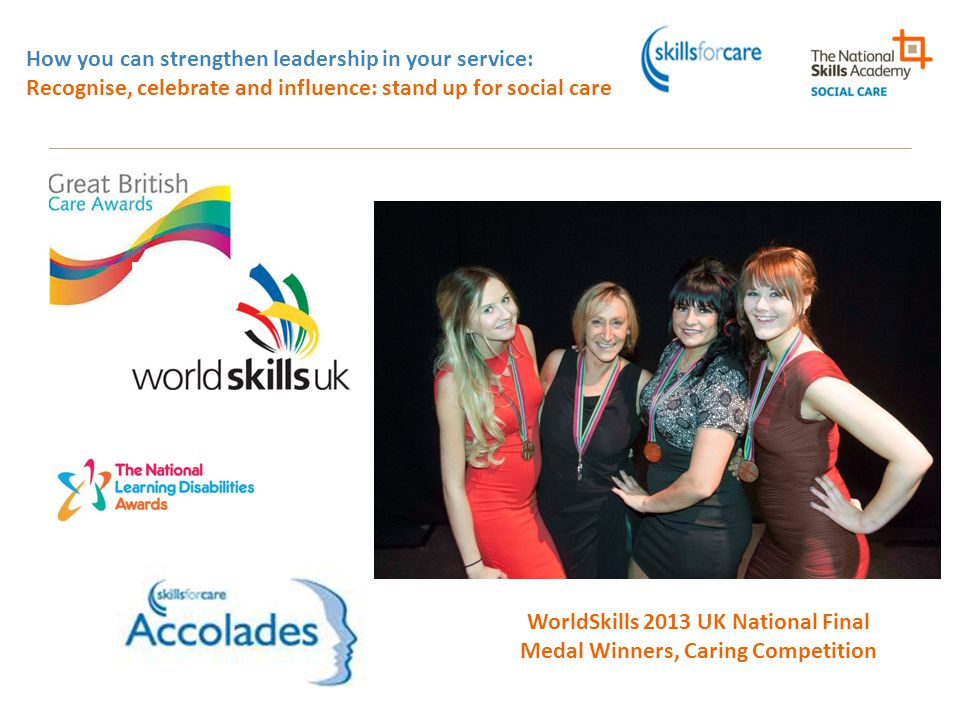 How you can strengthen leadership in your service: Recognise, celebrate and influence: stand up for social care WorldSkills 2013 UK National Final Med