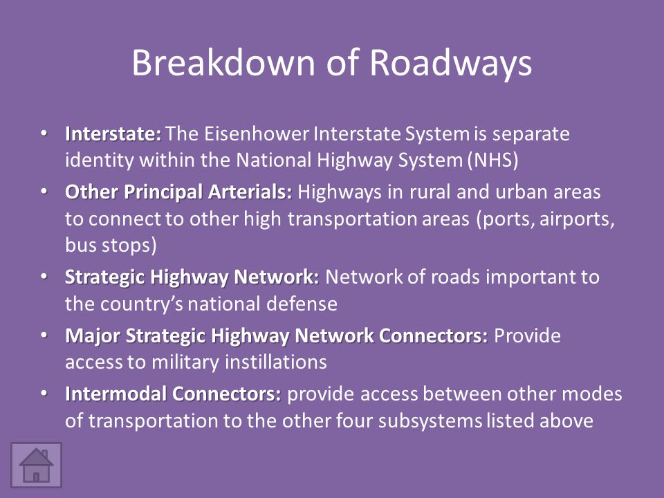 Breakdown of Roadways Interstate: Interstate: The Eisenhower Interstate System is separate identity within the National Highway System (NHS) Other Principal Arterials: Other Principal Arterials: Highways in rural and urban areas to connect to other high transportation areas (ports, airports, bus stops) Strategic Highway Network: Strategic Highway Network: Network of roads important to the country's national defense Major Strategic Highway Network Connectors: Major Strategic Highway Network Connectors: Provide access to military instillations Intermodal Connectors: Intermodal Connectors: provide access between other modes of transportation to the other four subsystems listed above