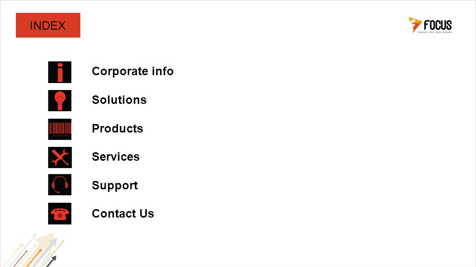 Corporate info Solutions Products Services Support Contact Us INDEX