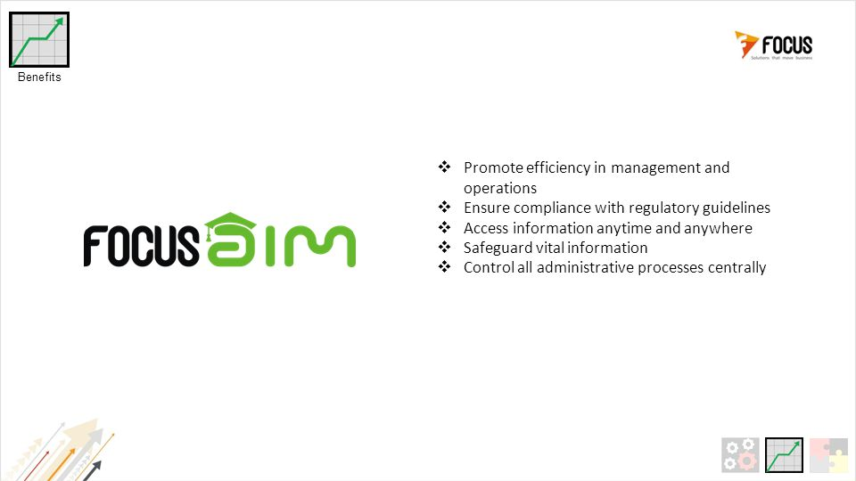 Promote efficiency in management and operations  Ensure compliance with regulatory guidelines  Access information anytime and anywhere  Safeguard vital information  Control all administrative processes centrally Benefits