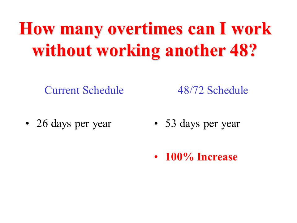 How many overtimes can I work without working another 48? Current Schedule 26 days per year 48/72 Schedule 53 days per year 100% Increase