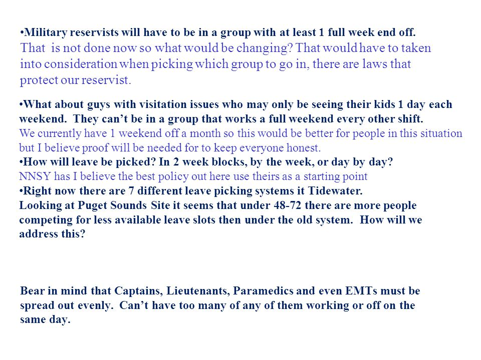 What about guys with visitation issues who may only be seeing their kids 1 day each weekend. They can't be in a group that works a full weekend every