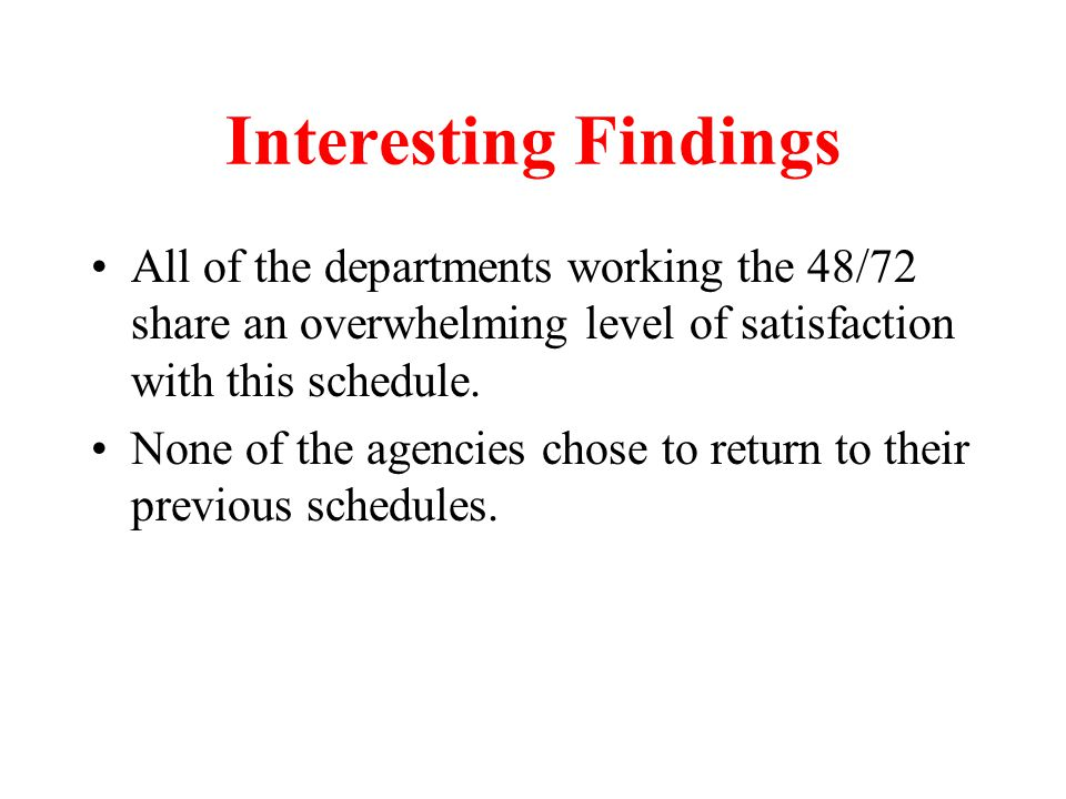 Why should management like the 48/72 schedule.