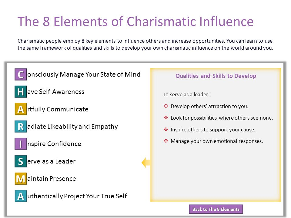 Back to The 8 Elements Back to The 8 Elements Qualities and Skills to Develop The 8 Elements of Charismatic Influence onsciously Manage Your State of Mind ave Self-Awareness rtfully Communicate adiate Likeability and Empathy nspire Confidence erve as a Leader aintain Presence uthentically Project Your True Self C H A R I S M A Element 6: Serve as a Leader Charismatic people employ 8 key elements to influence others and increase opportunities.