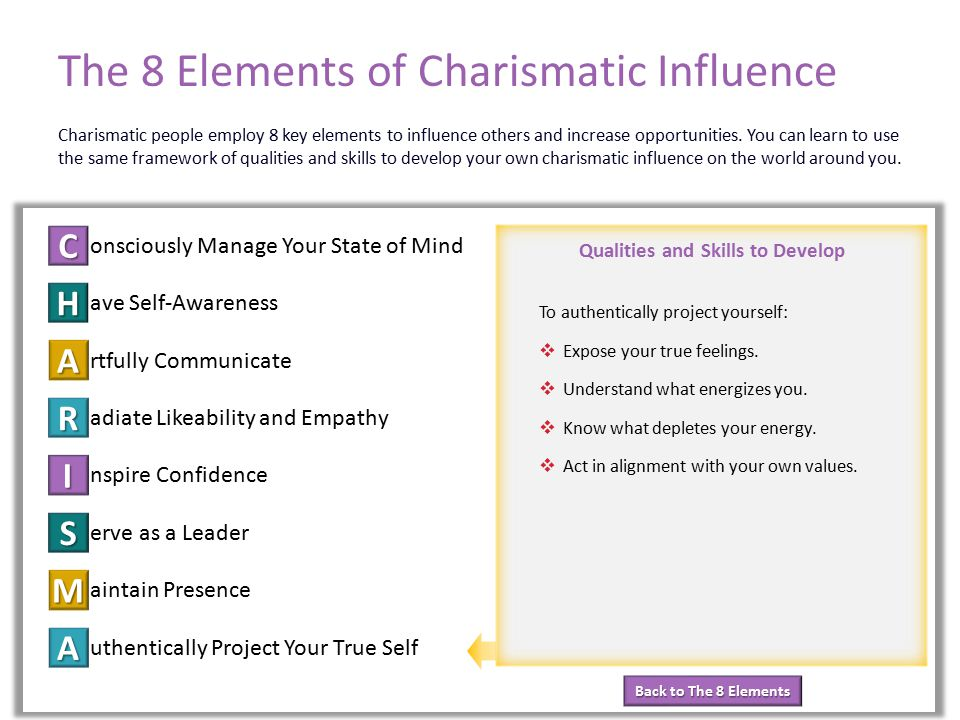Back to The 8 Elements Back to The 8 Elements Qualities and Skills to Develop The 8 Elements of Charismatic Influence onsciously Manage Your State of Mind ave Self-Awareness rtfully Communicate adiate Likeability and Empathy nspire Confidence erve as a Leader aintain Presence uthentically Project Your True Self C H A R I S M A Element 8: Authentically Project Your True Self Charismatic people employ 8 key elements to influence others and increase opportunities.