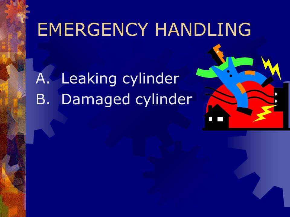 EMERGENCY HANDLING A. Leaking cylinder B. Damaged cylinder